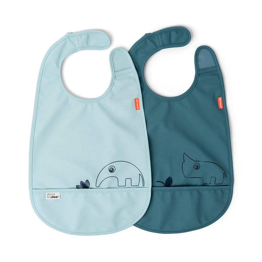 Done by deer- Velcro bib 2 pack blue