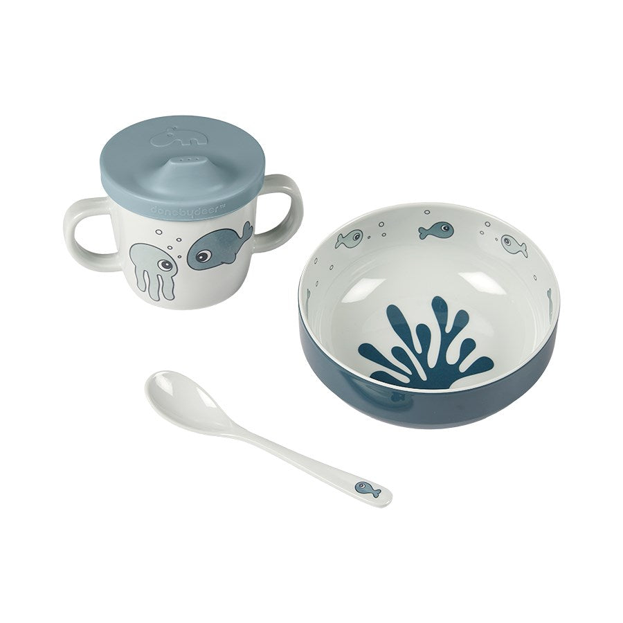 Done By Deer - Sea Friends First Meal Set Blue
