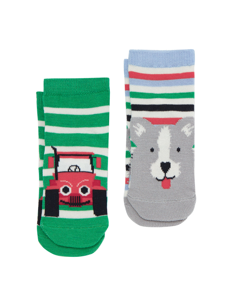 joules-neat feet tractor socks-baby at the bank