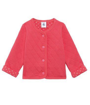 petit bateau- red cardigan- baby at the bank