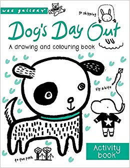 wee gallery-dogs day colouring book- baby at the bank
