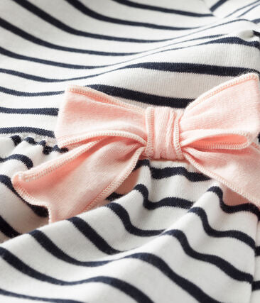 Petit Bateau - Short Sleeved Stripy Bow Dress