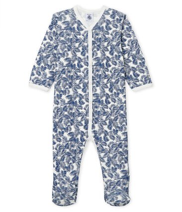 petit bateau-blue leaf babygrow- baby at the bank