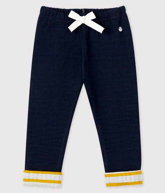 petit bateau-blue trousers with striped cuff- baby at the bank