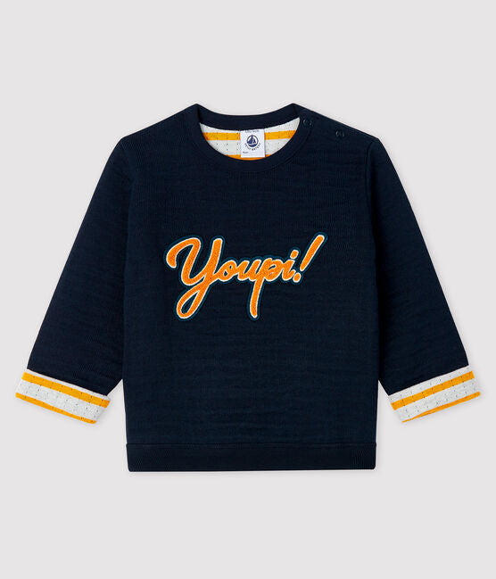 petit bateau-navy sweatdhirt Youpi- baby at the bank