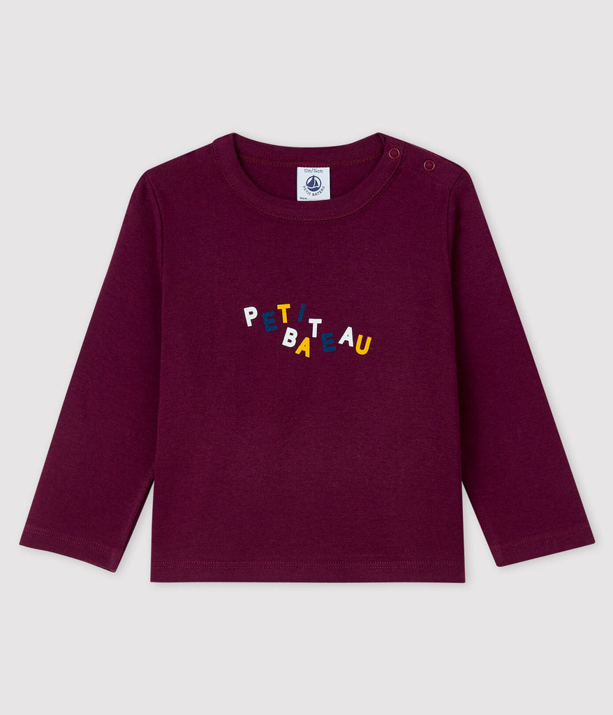 petit bateau-maroon tshirt- baby at the bank