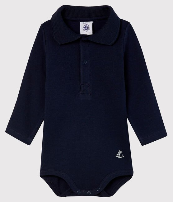 petit bateau-blue polo body- baby at the bank