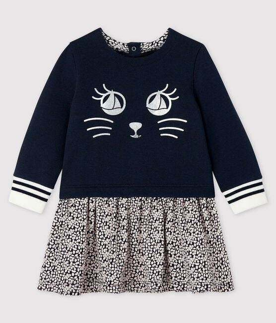 petit bateau-navy cat dress- baby at the bank
