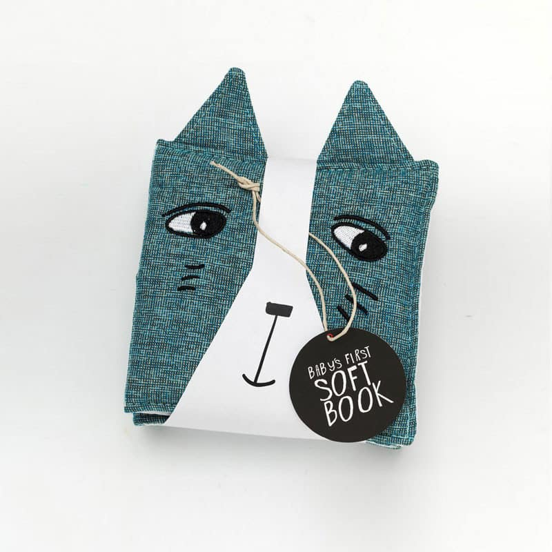 wee gallery-cat soft book- baby at the bank