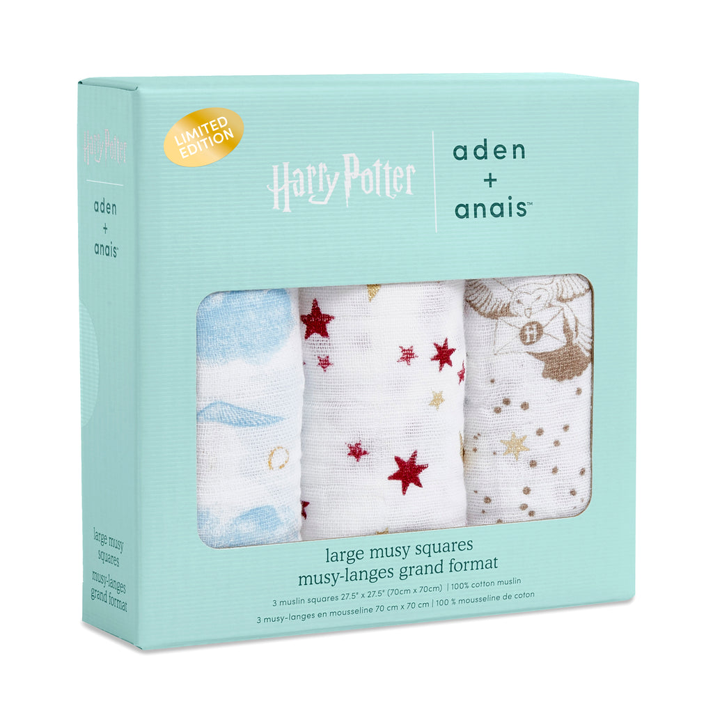 aden and anais-harry potter swaddle-baby at the bank