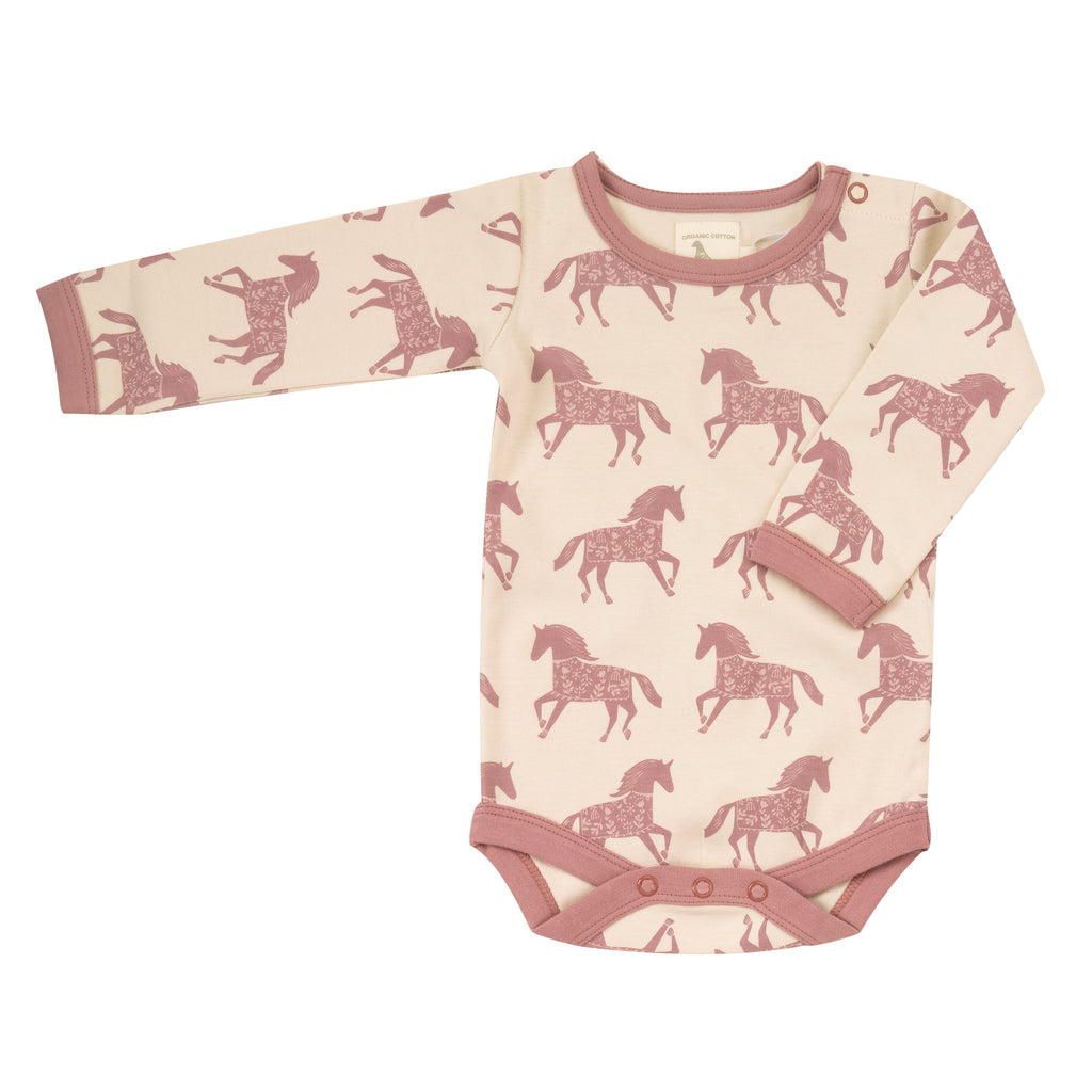 Pigeon Organics - Cream With Rose Horses Body Suit