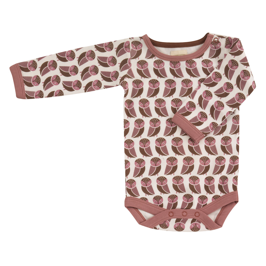 Pigeon Organics - Cream With Rose Owl Body Suit