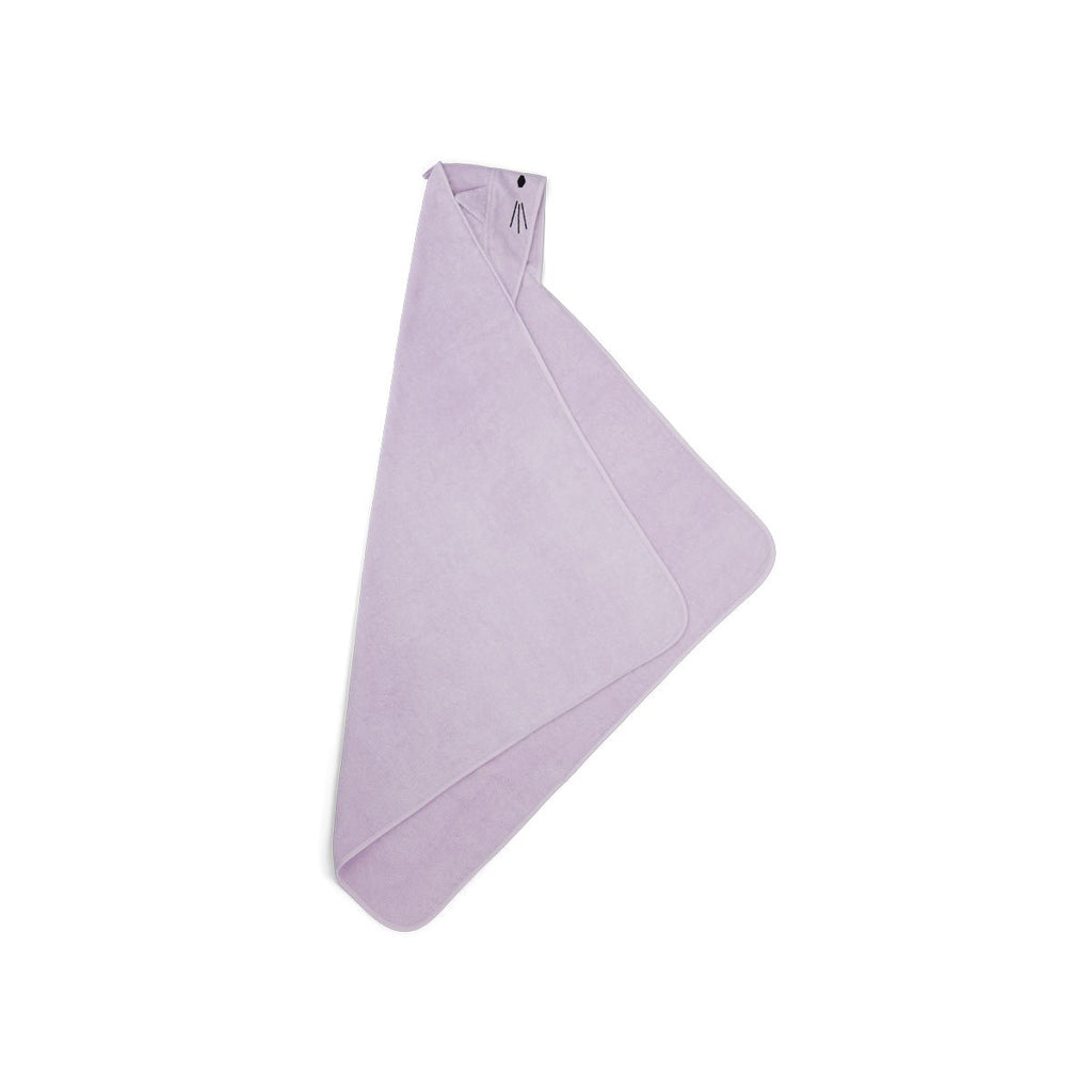 Liewood- Augusta Hooded Toddler Towel Cat Lavender