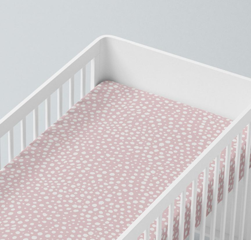 Mama Shack - Muslin Fitted Cot Sheets Pink Spotty