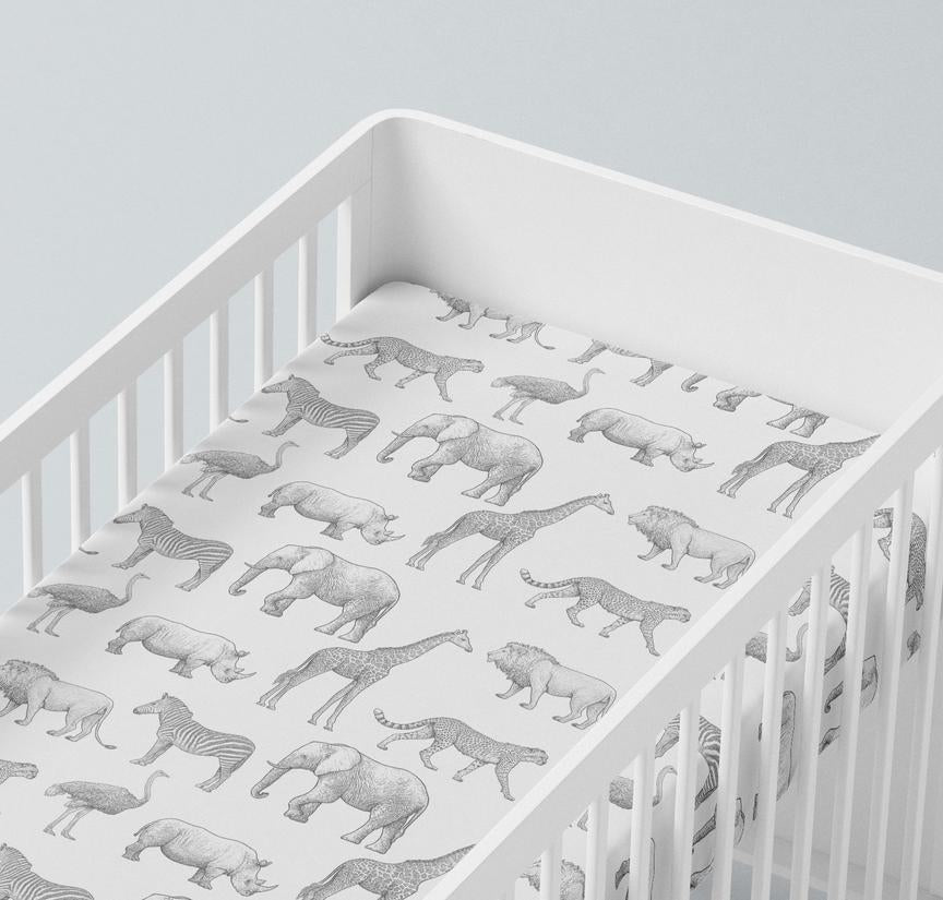 Mama Shack - Muslin Fitted Cot Sheets Mono Safari