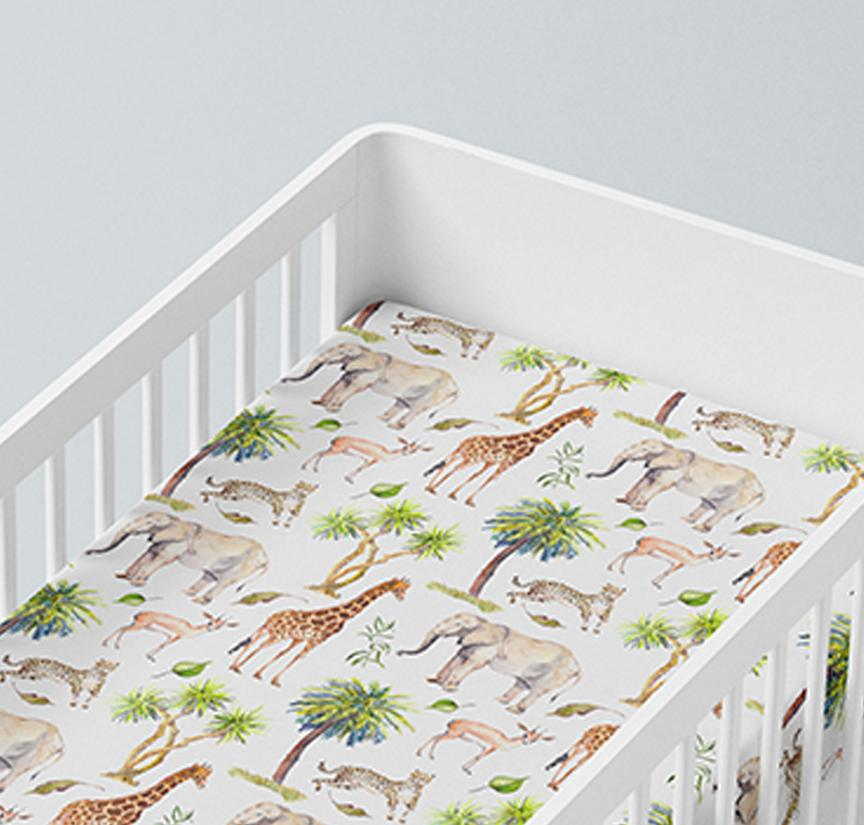 Mama Shack - Muslin Fitted Cot Sheets Wild Safari
