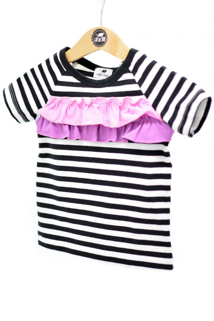 rock and mouse -Striped  t shirt -baby at the bank