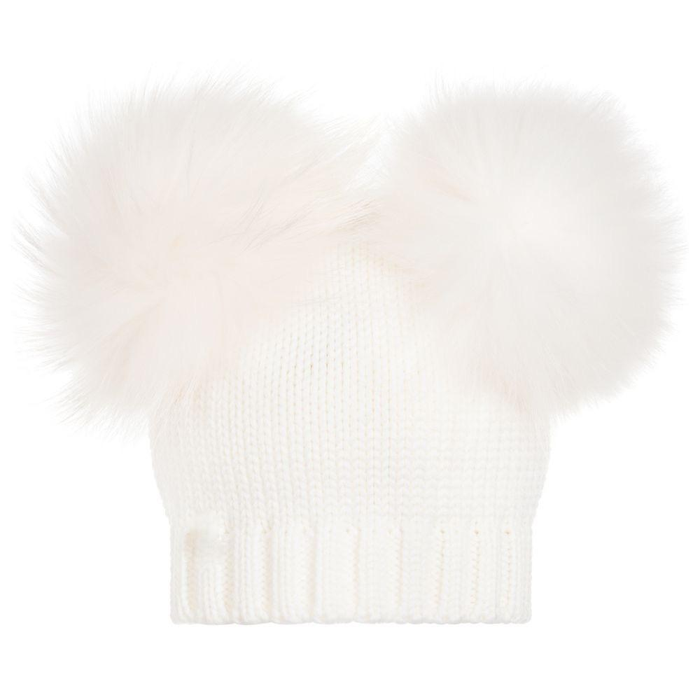 Bobble Babies - Newborn Double Pom Pom White Hat - Baby at the Bank
