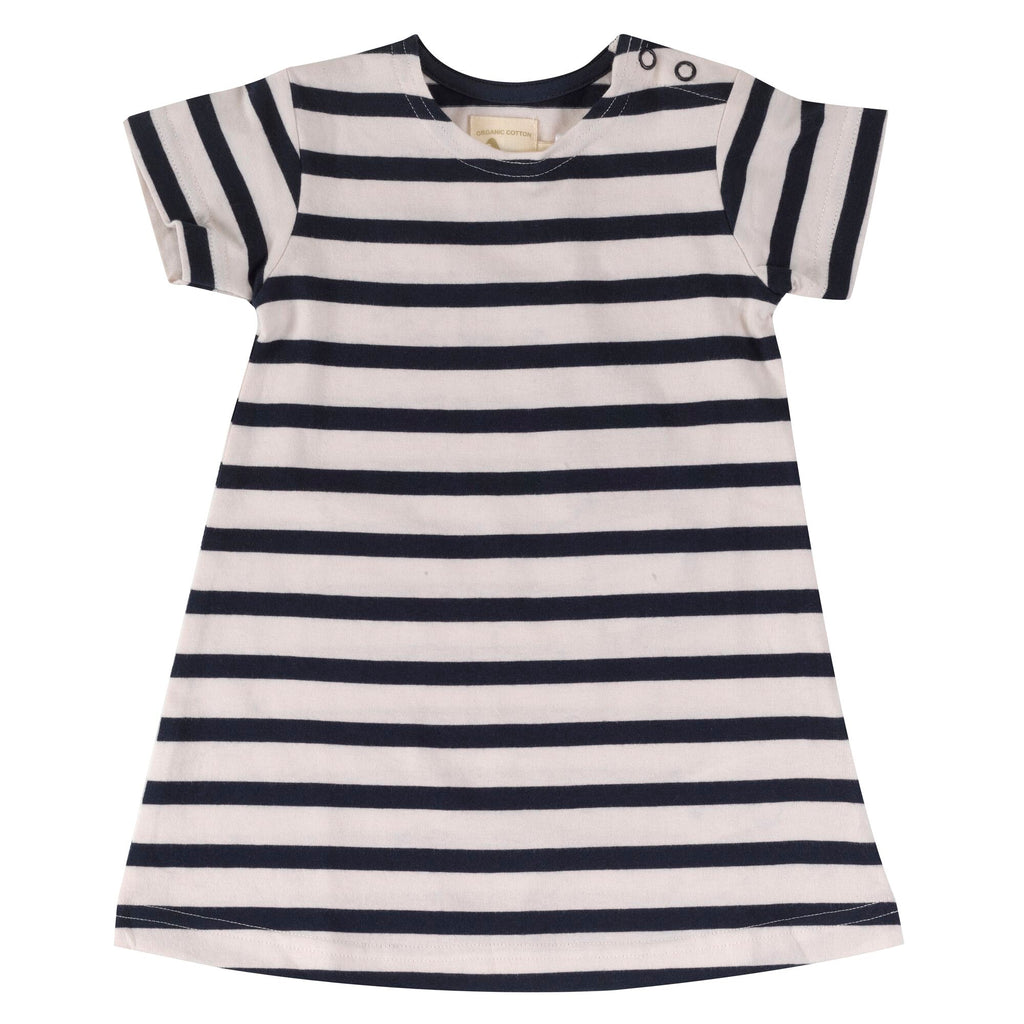 pigeon organics-breton navy dress -baby at the bank