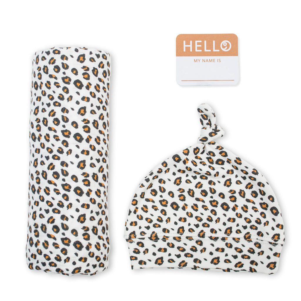Lulujo - Hello World Hat and Swaddle leopard