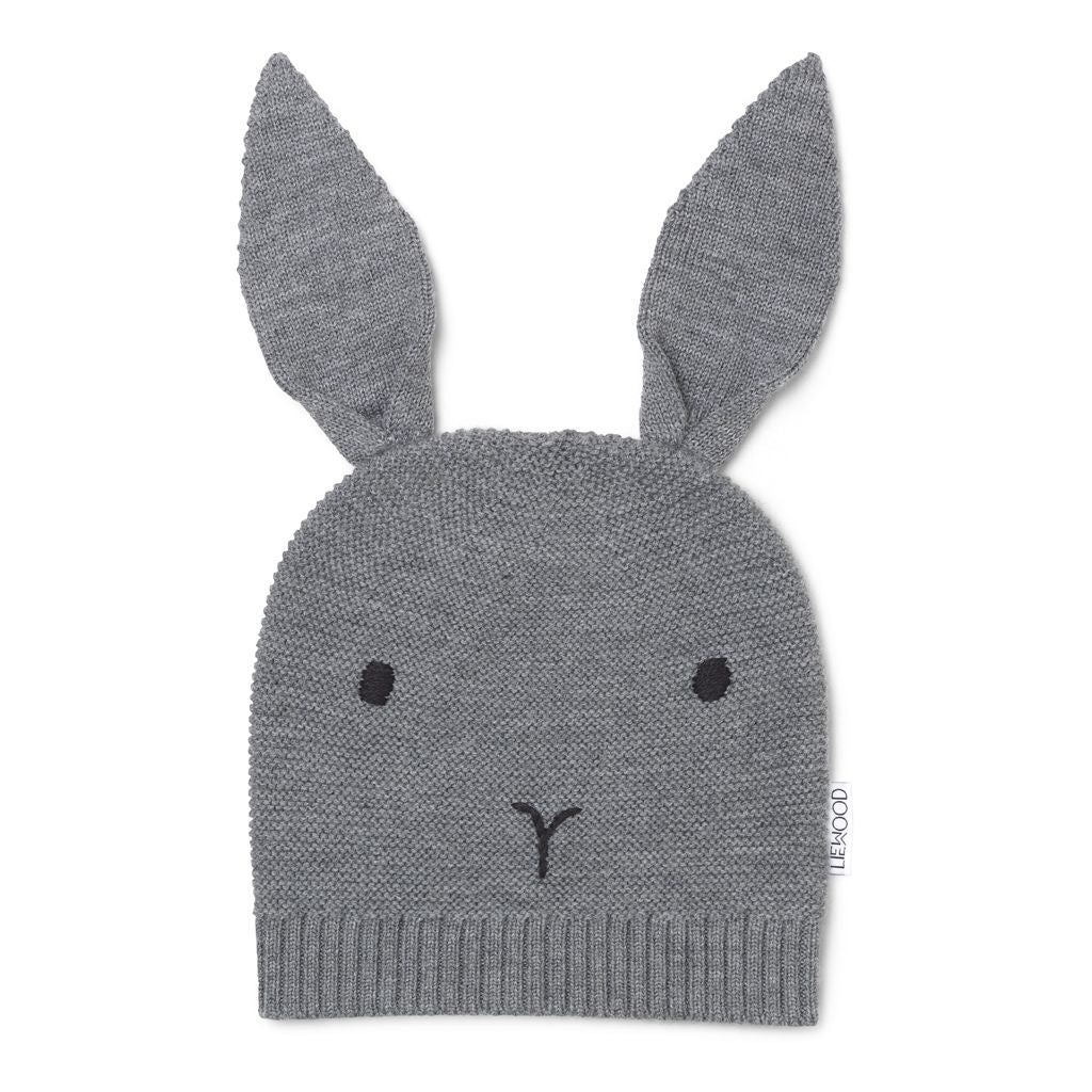 liewood-grey rabbit hat-baby at the bank