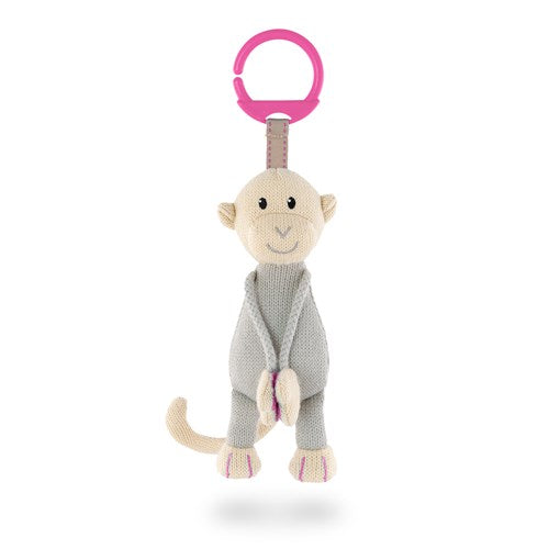 Matchstick Monkey - Pink Knitted Hanging Monkey - Baby at the Bank