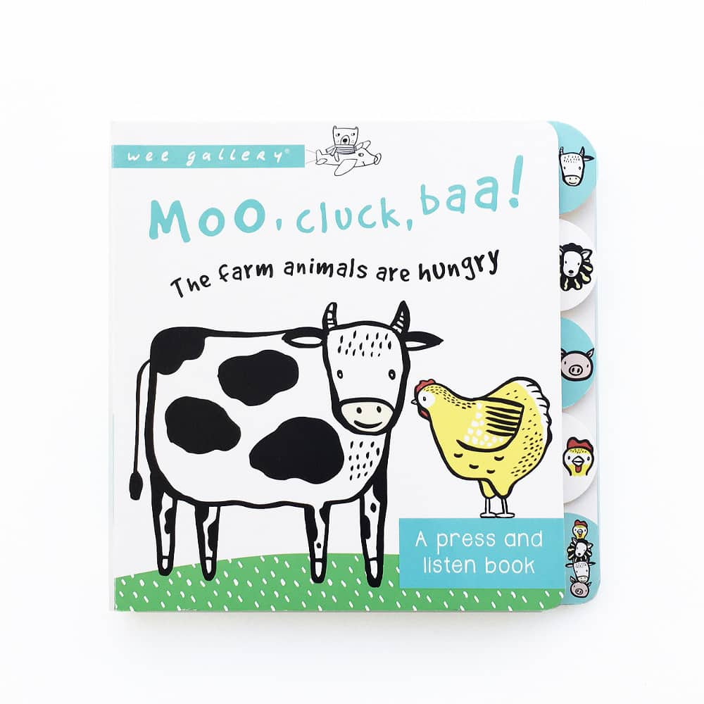wee gallery-moo cluck baa sound book- baby at the bank