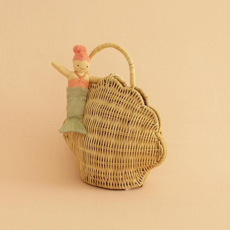 Olli and ella- Ratan shell bag- straw