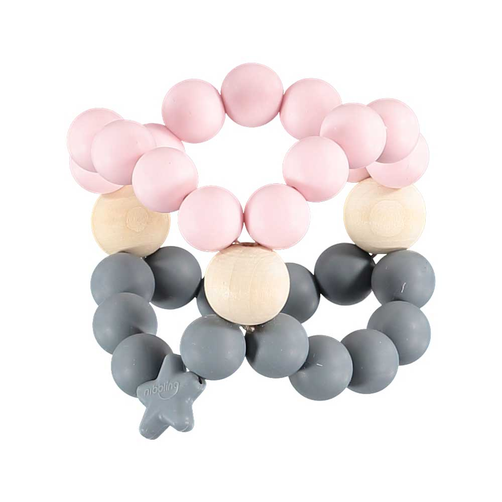 Nibbling - Nib Cube Teether Pink & Grey