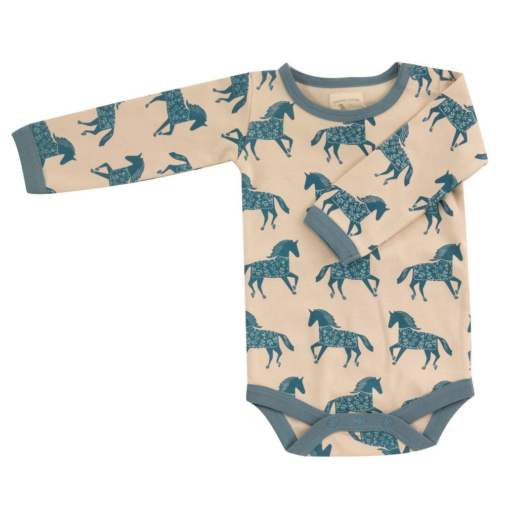 pigeon organics-baby unisex bodysuit  pale marlin blue with horses-baby at the bank