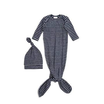 aden and anais-knotty navy stripe babygrow and hat-baby at the bank