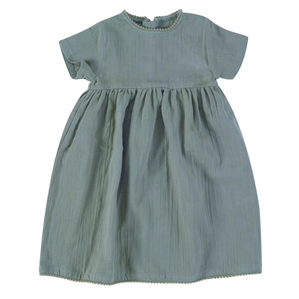pigeon organics-soft muslin turquoise dress -baby at the bank