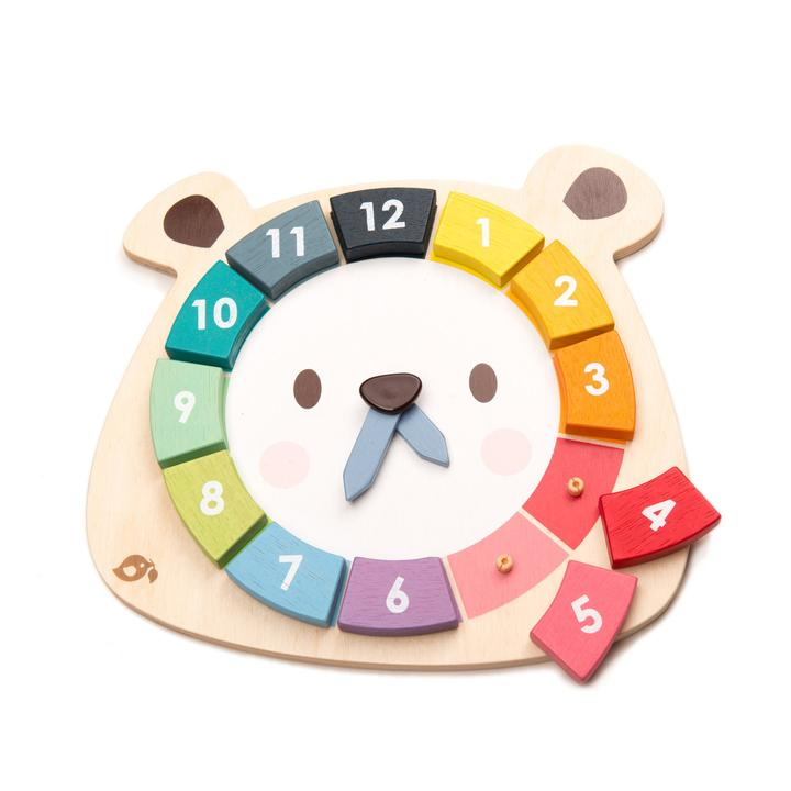 tenderleaf-bear clock puzzle-baby at the bank
