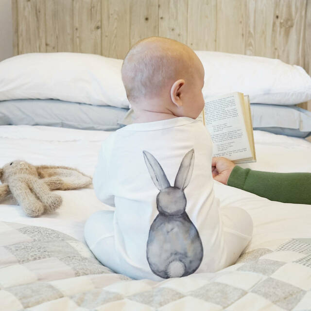 Sparks and Daughters- Bunny Rabbit Back Watercolour Sleepsuit