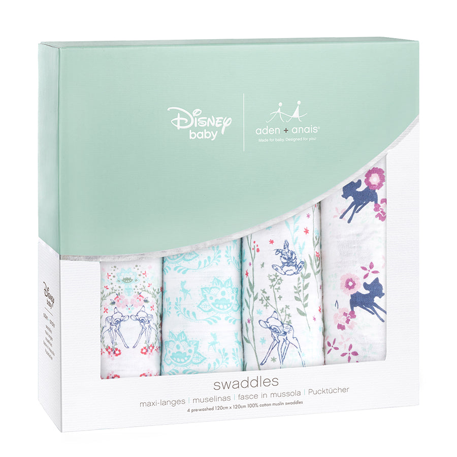 Aden and Anais-DisneyBambi 4 pack swaddles