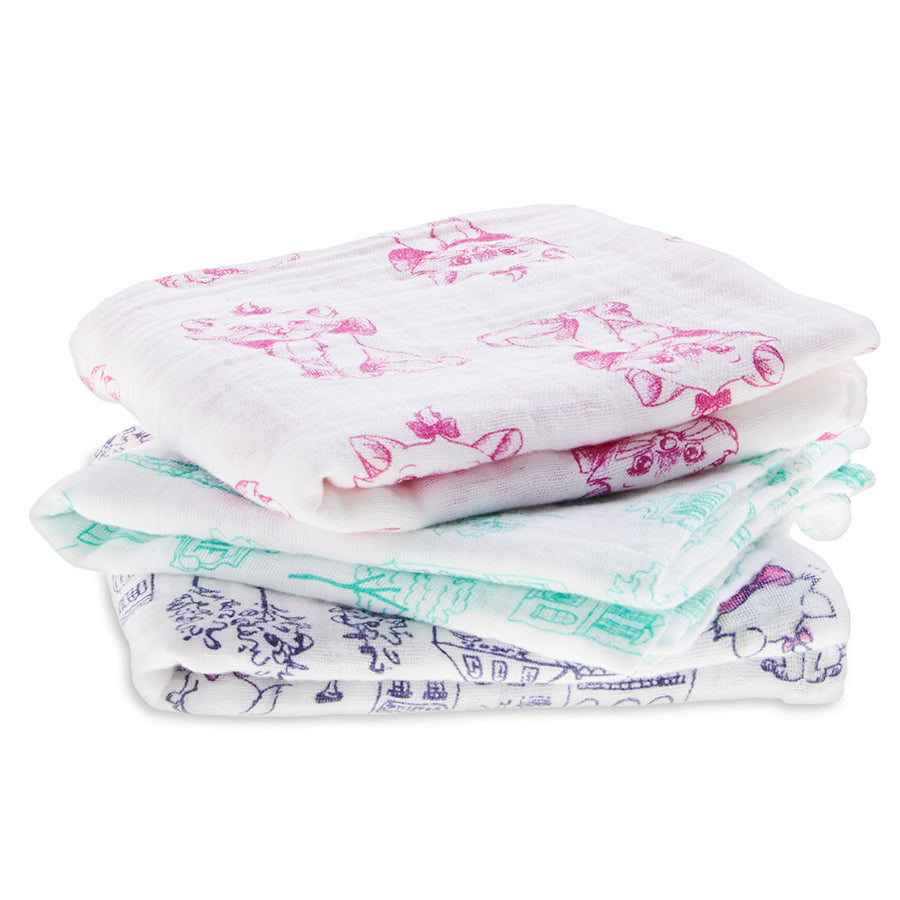 Aden and Anais - The Aristocats 3-Pack Disney Baby Muslin Square - Baby at the Bank