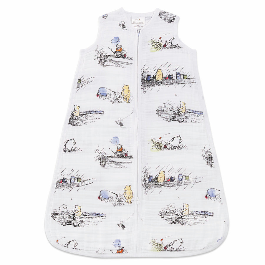 aden and anais-winnie the poo 1 tog sleeping bag-baby at the bank