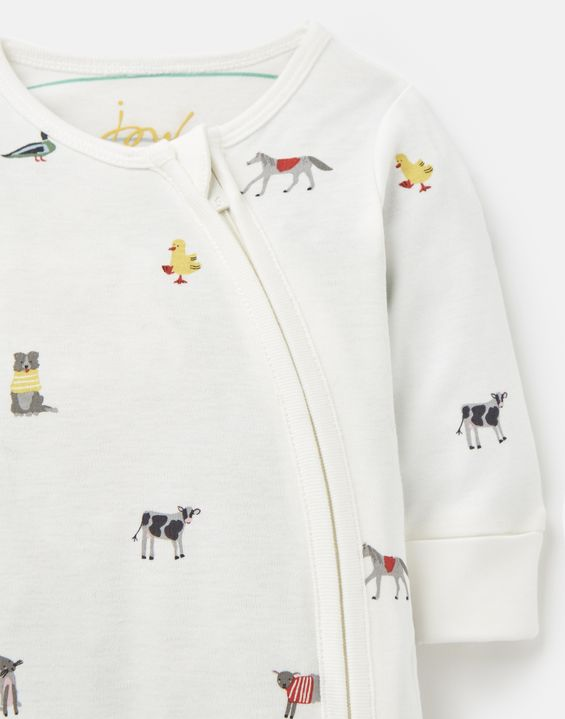 joules -white farm print babygrow-baby at the bank