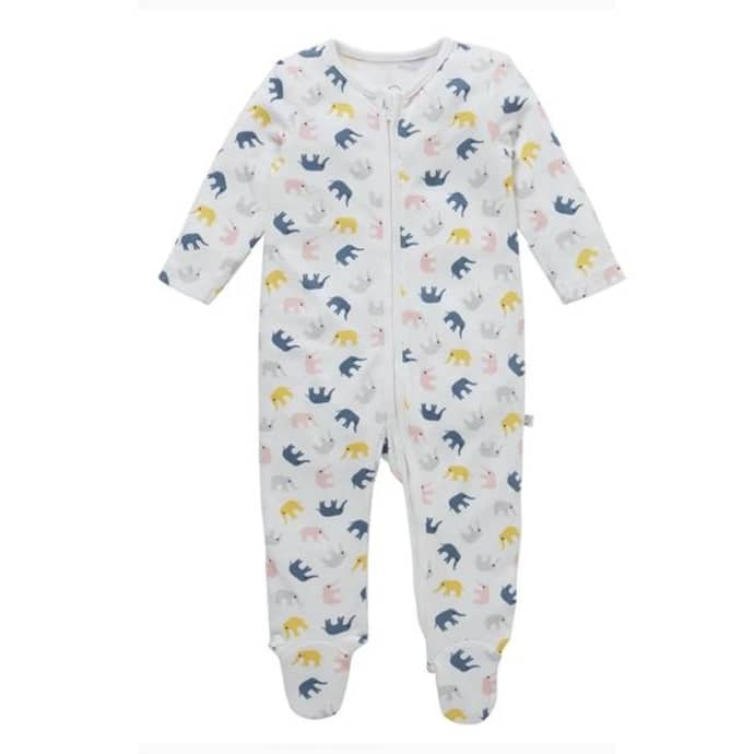 mori -elephant sleepsuit-baby at the bank