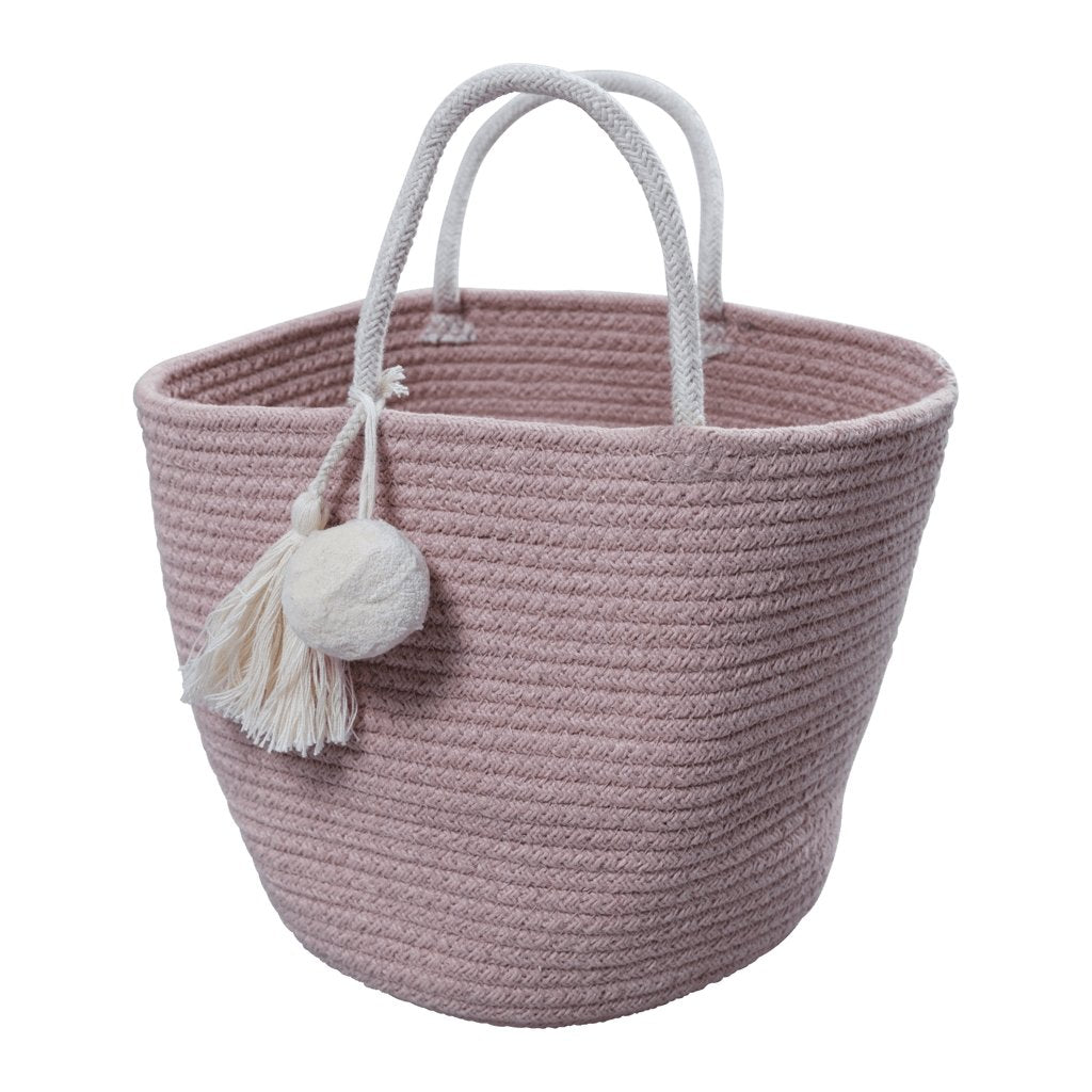 fabelab-mauve toy bag-baby at the bank