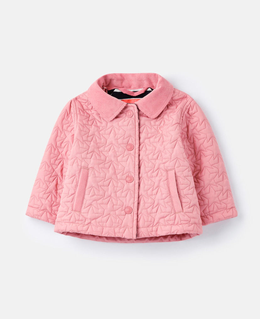 joules-pink quilted  jacket-baby at the bank