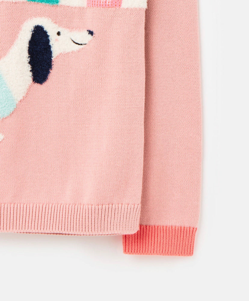 Joules - Knitted Pink Dog Jumper
