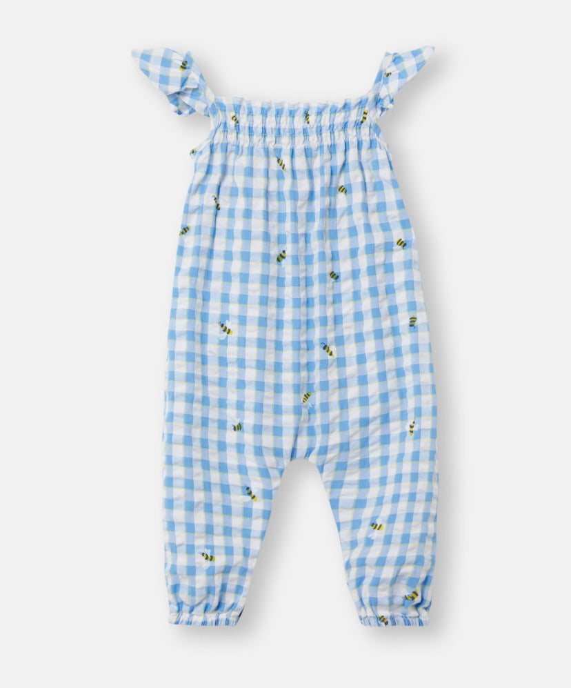 joules-bee playsuit-baby at the bank