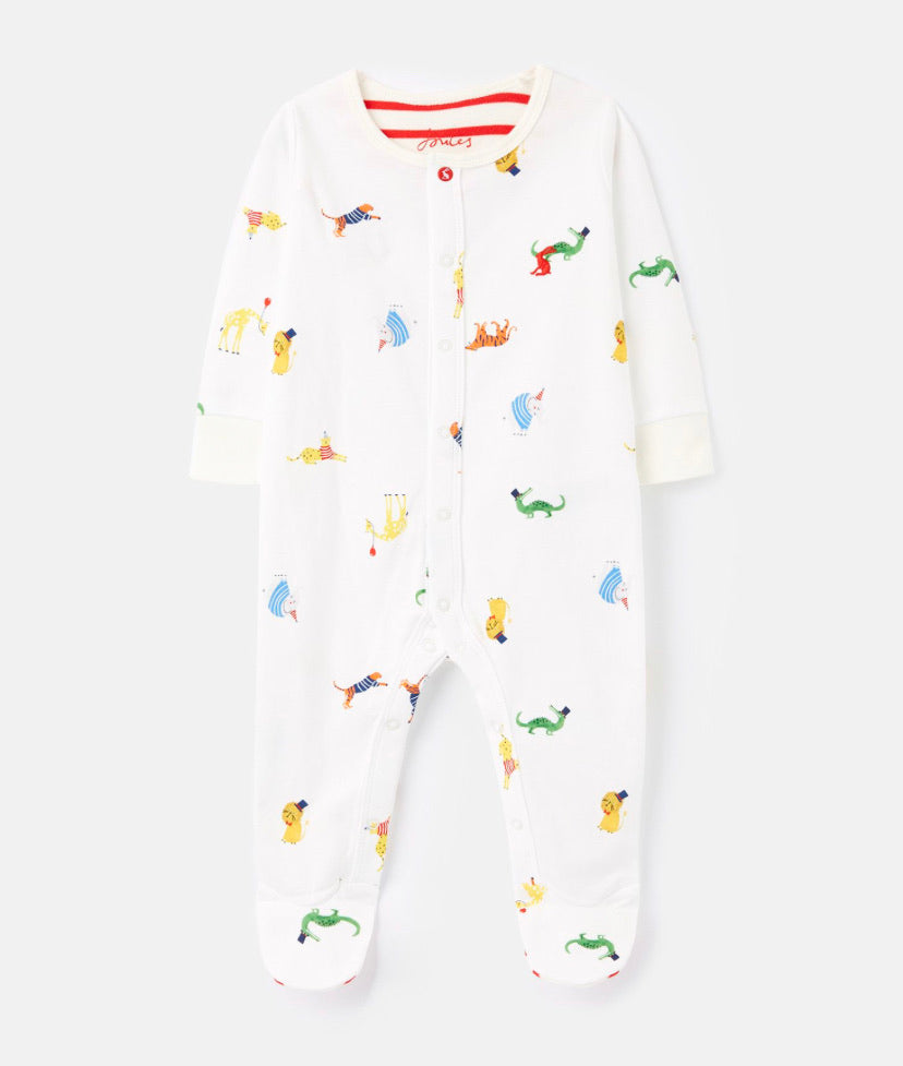 joules-animal babygrow-baby at the bank