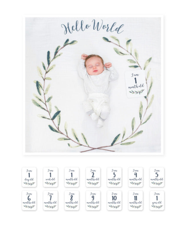 Lulujo - Milestone Card & Blankets Hello World