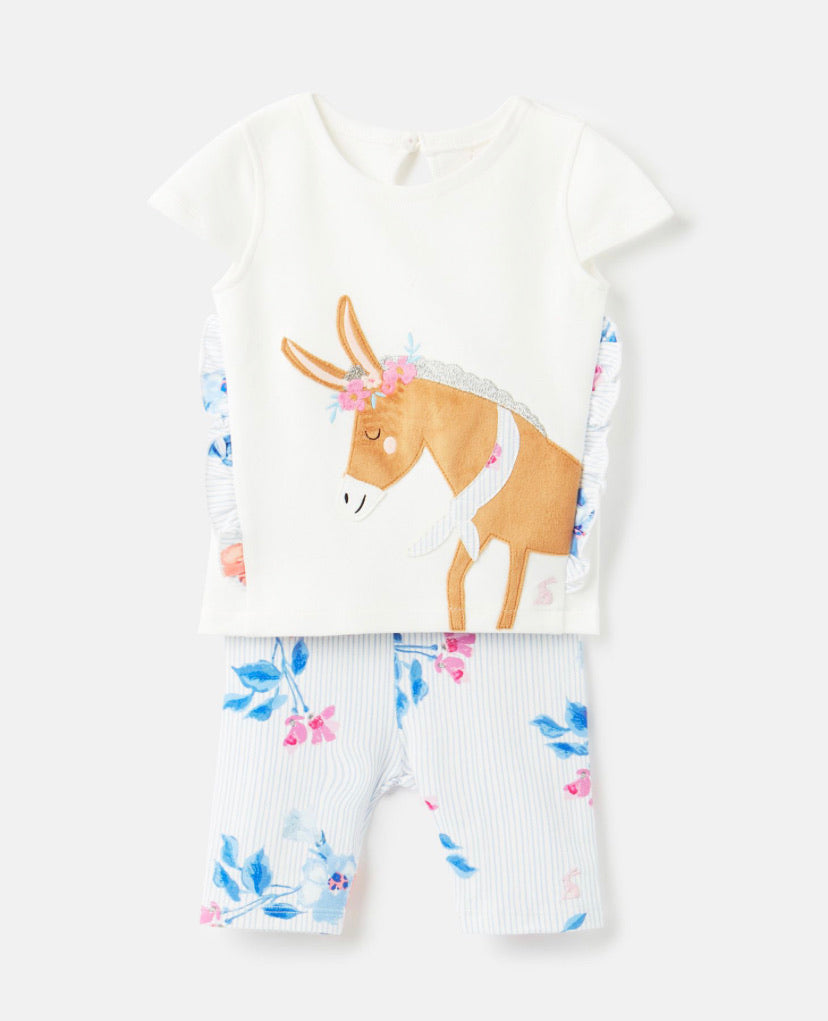 Joules- White Donkey Applique shortie set