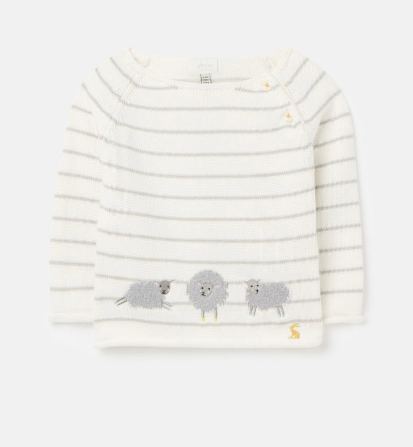 Joules - Grey Knitted Sheep Jumper