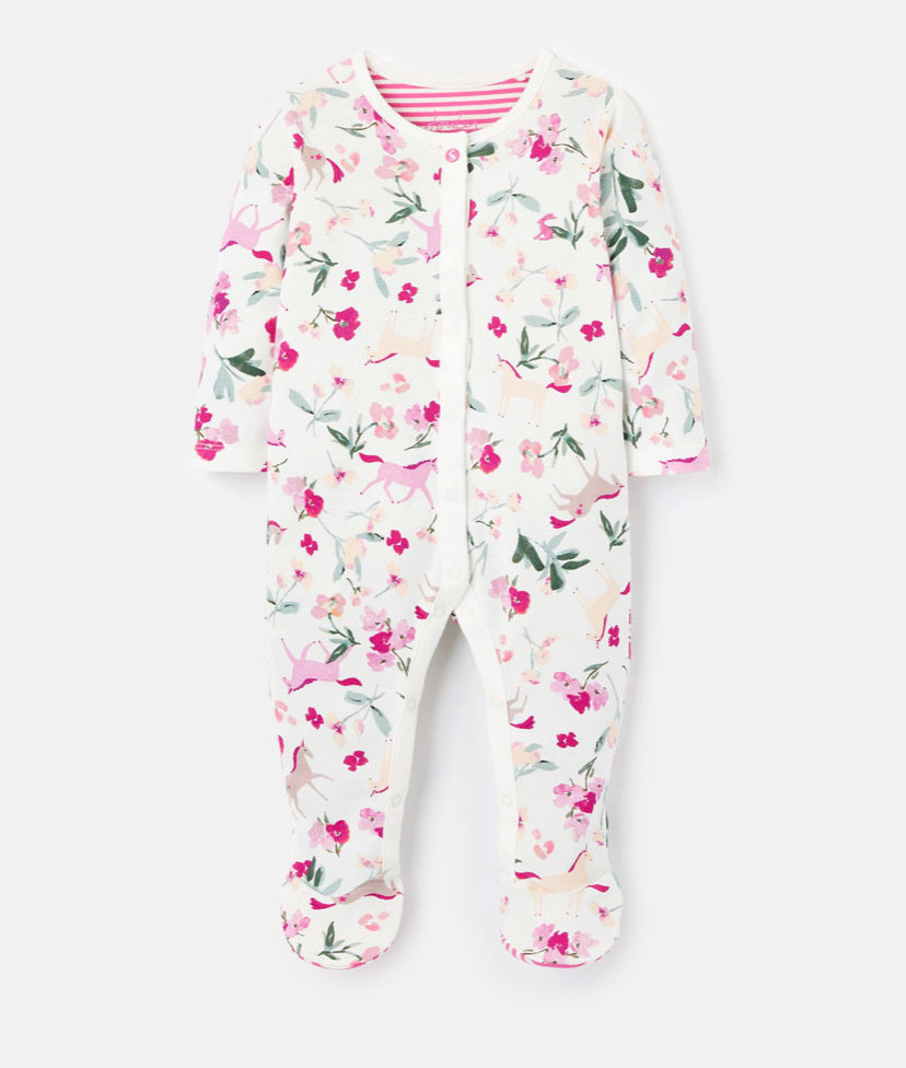 Joules - White Unicorn Floral Sleepsuit
