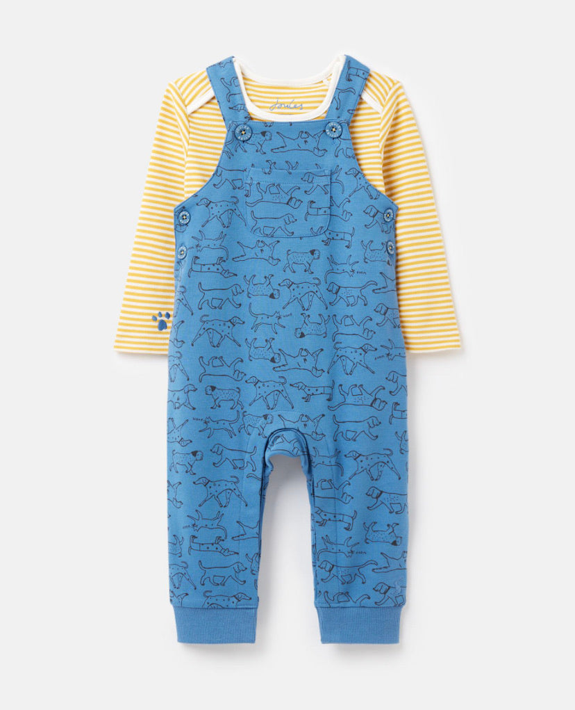 Joules - Jersey Dungaree Set Blue Dogs