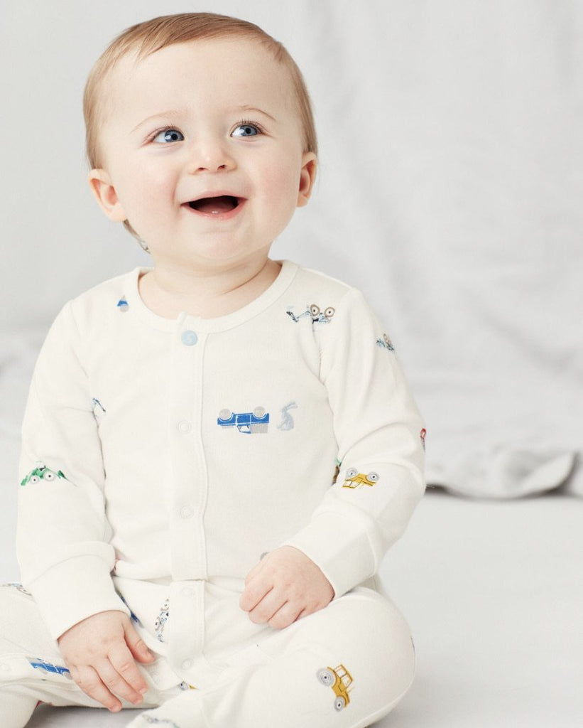 joules-white farm tractor babygrow-baby at the bank